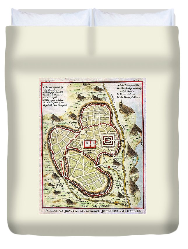 1730 Street Map Or Plan Of Jerusalem Geographicus Jerusalem Uk 1730 Duvet Cover featuring the painting 1730 Street Map Or Plan Of Jerusalem Geographicus Jerusalem Uk 1730 by MotionAge Designs