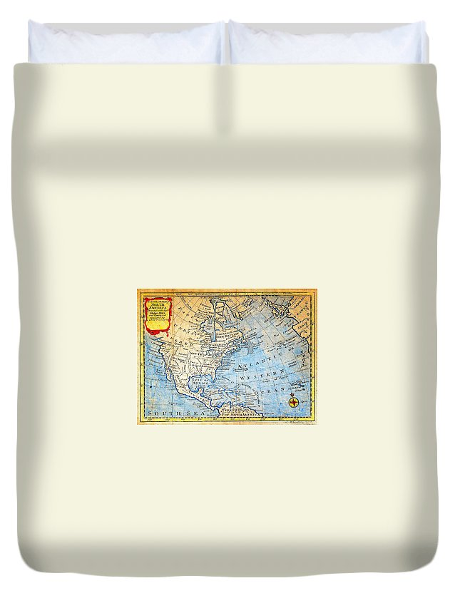 1747 Bowen Map Of North America Geographicus Northamerica Bowen 1747 Duvet Cover featuring the painting 1747 Bowen Map Of North America Geographicus Northamerica Bowen 1747 by MotionAge Designs
