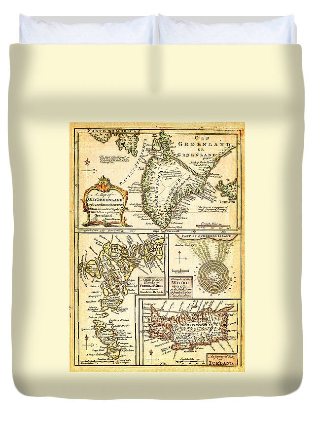 1747 Bowen Map Of The North Atlantic Islands Greenland Iceland Faroe Islands Maelstrom Geographicus Oldgreenland Bowen 1747 Duvet Cover featuring the painting 1747 Bowen Map Of The North Atlantic Islands Greenland Iceland Faroe Islands Maelstrom Geographicus by MotionAge Designs