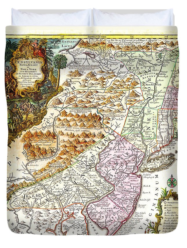 1756 Lotter Map Of Pennsylvania New Jersey New York Geographicus Pensylvanianovajersey Lotter 1756 Duvet Cover featuring the painting 1756 Lotter Map Of Pennsylvania New Jersey New York Geographicus Pensylvanianovajersey Lotter 1756 by MotionAge Designs