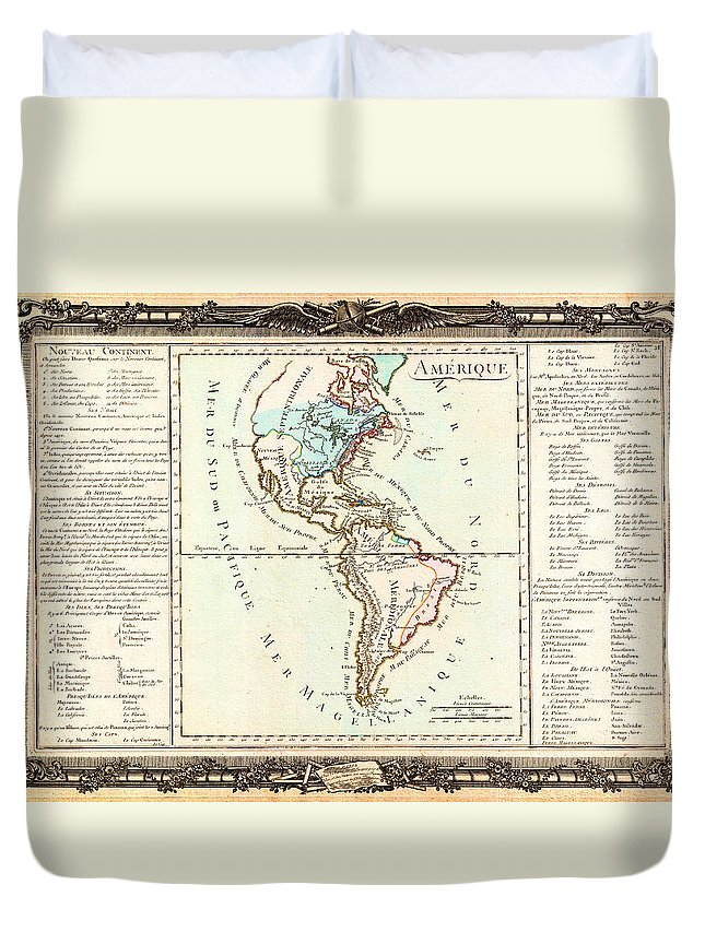 1760 Desnos And De La Tour Map Of North America And South America Geographicus Amerique Desnos 1760 Duvet Cover featuring the painting 1760 Desnos And De La Tour Map Of North America And South America Geographicus Amerique Desnos 1760 by MotionAge Designs