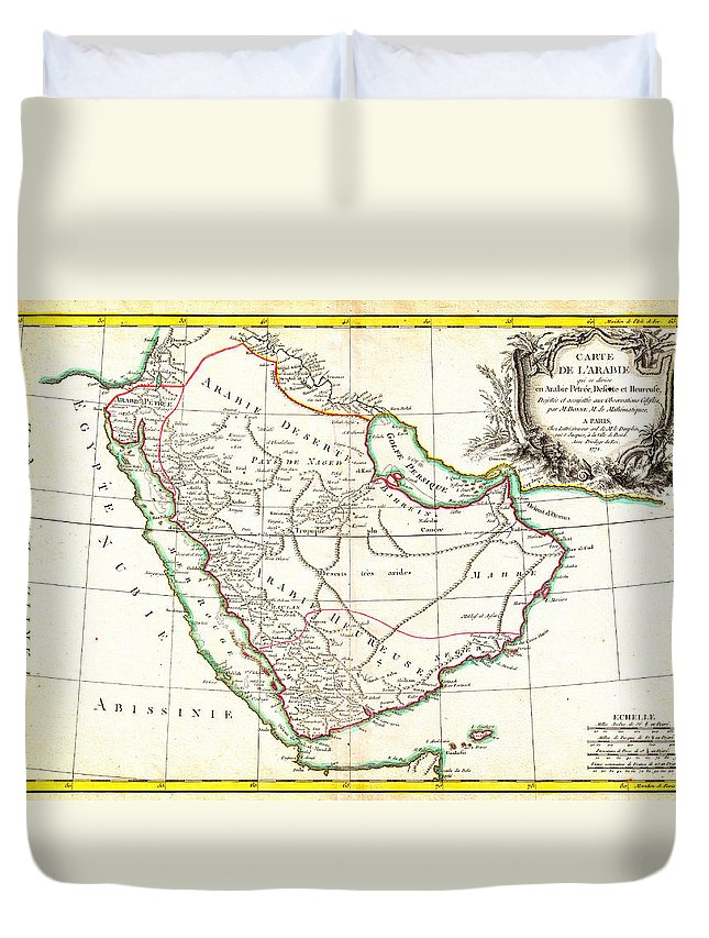 1771 Bonne Map Of Arabia Geographicus Arabia Bonne 1771 Duvet Cover featuring the painting 1771 Bonne Map Of Arabia Geographicus Arabia Bonne 1771 by MotionAge Designs