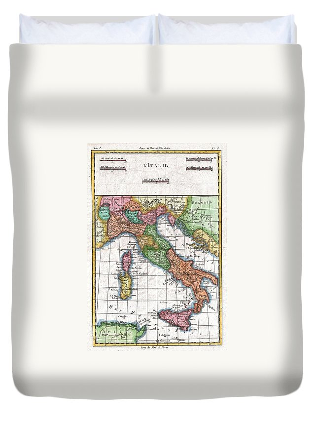 A Fine Example Of Rigobert Bonne And Guilleme Raynal's 1780 Map Of Italy. Shows Towns Duvet Cover featuring the photograph 1780 Raynal And Bonne Map Of Italy by Paul Fearn