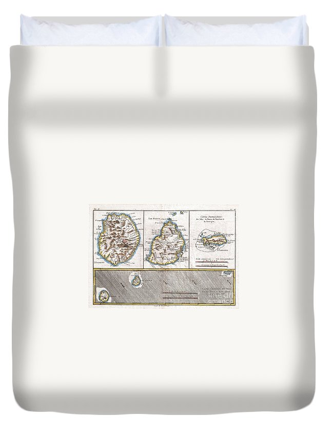 1780 Raynal And Bonne Map Of Mascarene Islands Duvet Cover featuring the photograph 1780 Raynal And Bonne Map Of Mascarene Islands Reunion Mauritius Bourbon by Paul Fearn