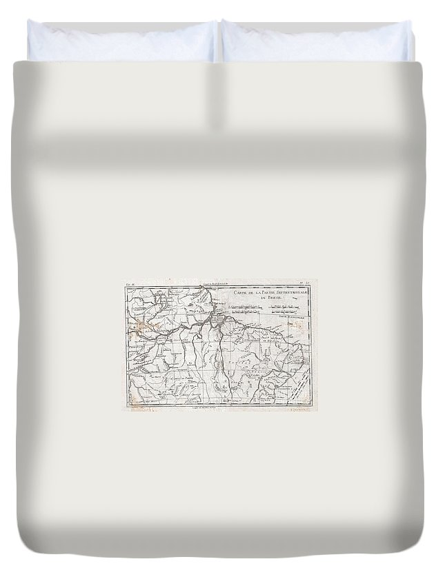 A Fine Example Of Rigobert Bonne And Guilleme Raynal's 1780 Map Of Northern Brazil. This Detailed Map Features The Northern Portion Of Brazil From Bahia To Guyana. This Also Includes A Portion Of The Amazon River And Its Adjancet Rainforest Duvet Cover featuring the photograph 1780 Raynal And Bonne Map Of Northern Brazil by Paul Fearn