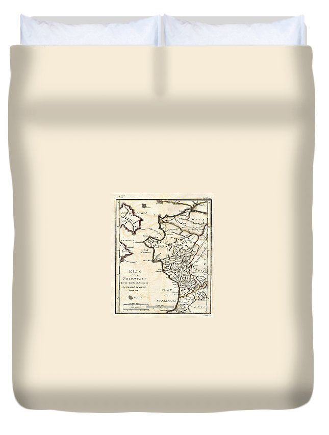 This Lovely Little Map Of Elis And Triphylia Duvet Cover featuring the photograph 1786 Bocage Map Of Elis And Triphylia In Ancient Greece by Paul Fearn