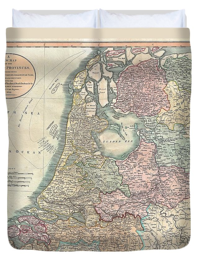 An Extremely Attractive Example Of John Cary's 1799 Map Of The Netherlands. Consists Of The Provinces Of Holland Duvet Cover featuring the photograph 1799 Cary Map Of The Netherlands by Paul Fearn
