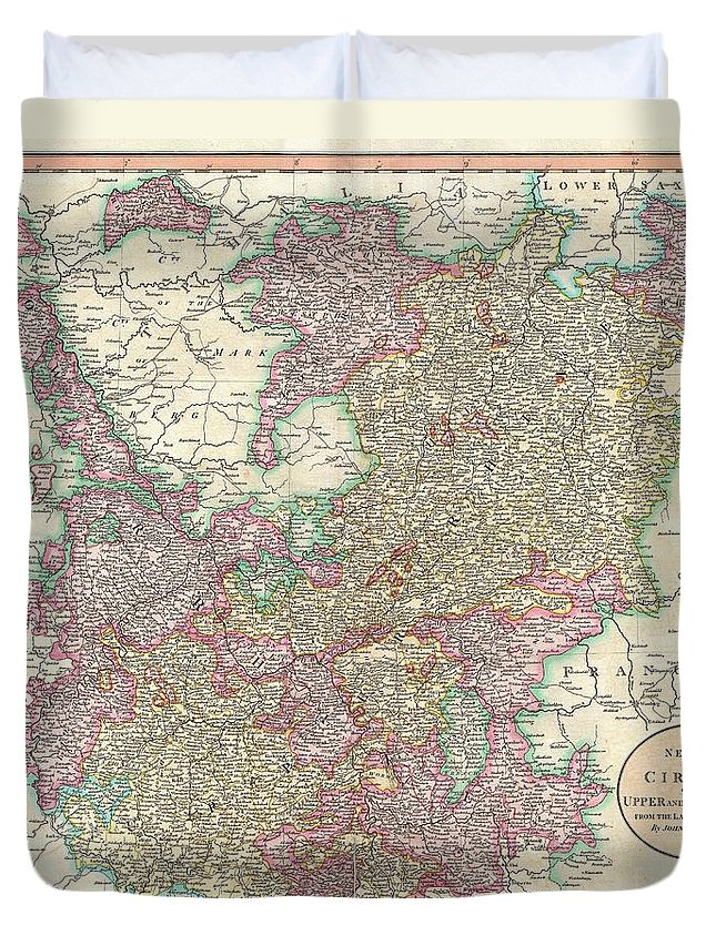 An Extremely Attractive Example Of John Cary's 1799 Map Of The Upper And Lower Rhine Duvet Cover featuring the photograph 1799 Cary Map Of The Upper And Lower Rhine by Paul Fearn