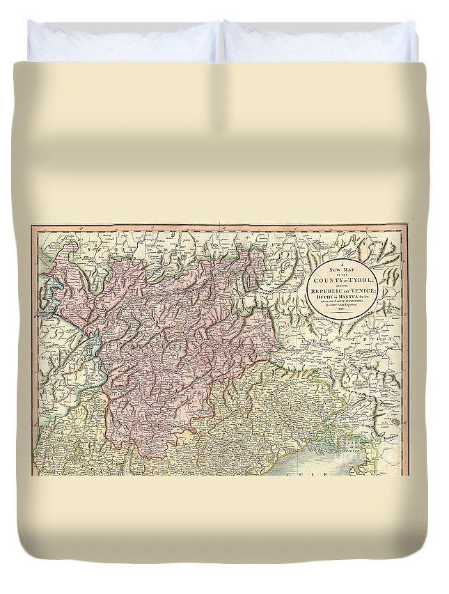 An Extremely Attractive Example Of John Cary's Important 1799 Map Of The County Of Tyrol. Covers Bergamo And Lake Constance Eastward Duvet Cover featuring the photograph 1799 Cary Map Of Tyrol by Paul Fearn