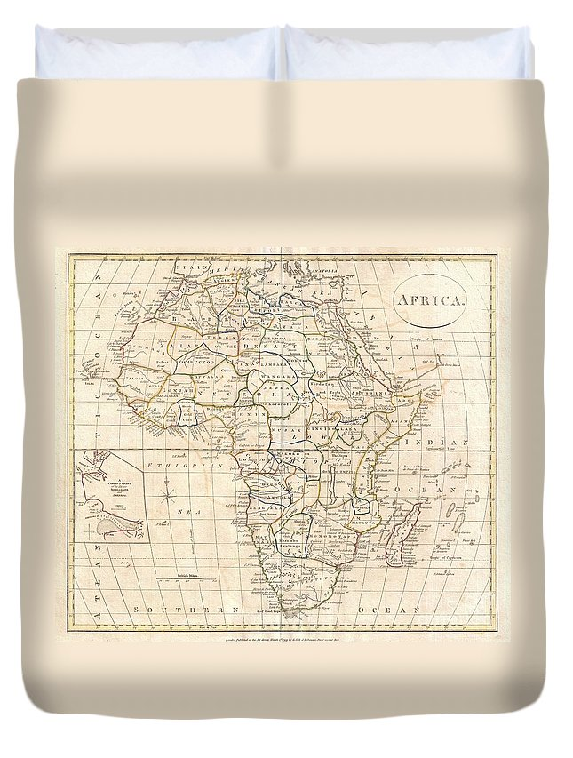 : A Fine 1799 Map Of Africa By The English Map Publisher Clement Cruttwell. Covers The Entire Region Duvet Cover featuring the photograph 1799 Clement Cruttwell Map Of Africa by Paul Fearn