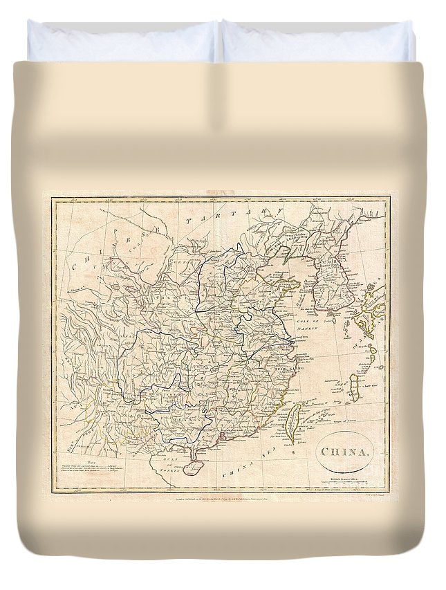 A Fine 1799 Map Of China By The English Mapmaker Clement Cruttwell. Includes The Modern Day Provinces Of Sichuan (setchuen) Duvet Cover featuring the photograph 1799 Clement Cruttwell Map Of China Korea And Taiwan by Paul Fearn