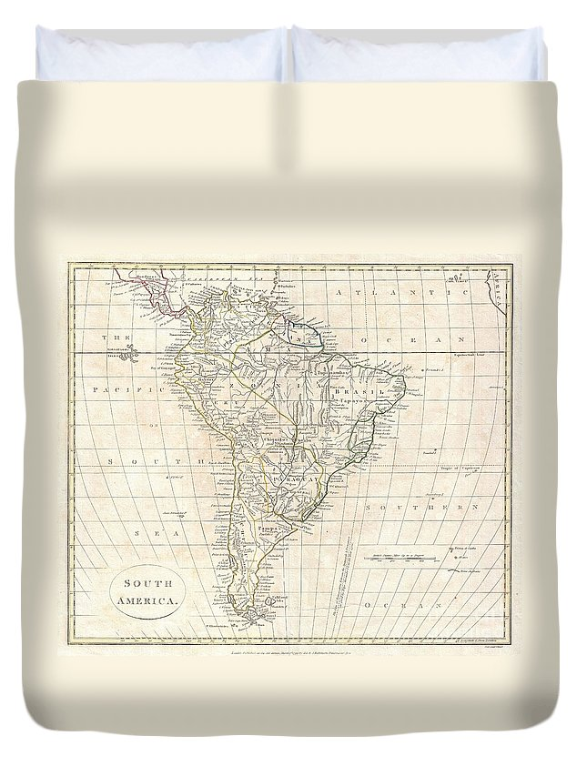 A Fine 1799 Map Of South America By The English Mapmaker Clement Cruttwell. Covers All Of South America As Well As Parts Of Central America As Far North As Honduras. Crutwell Identifies A Number Of Indigenous Peoples Throughout As Well As Missions Stations And Fortifications. The Line Of Demarcation Duvet Cover featuring the photograph 1799 Clement Cruttwell Map Of South America by Paul Fearn