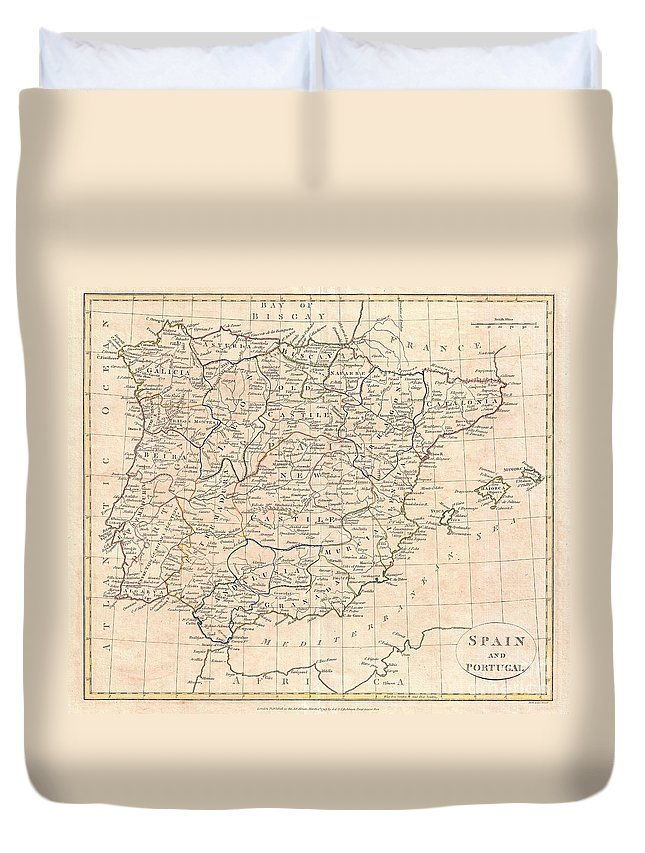 A Fine 1799 Map Of Spain And Portugal By The English Map Publisher Clement Cruttwell. Map Shows The Provinces As They Appeared At This Time Duvet Cover featuring the photograph 1799 Clement Cruttwell Map Of Spain And Portugal by Paul Fearn