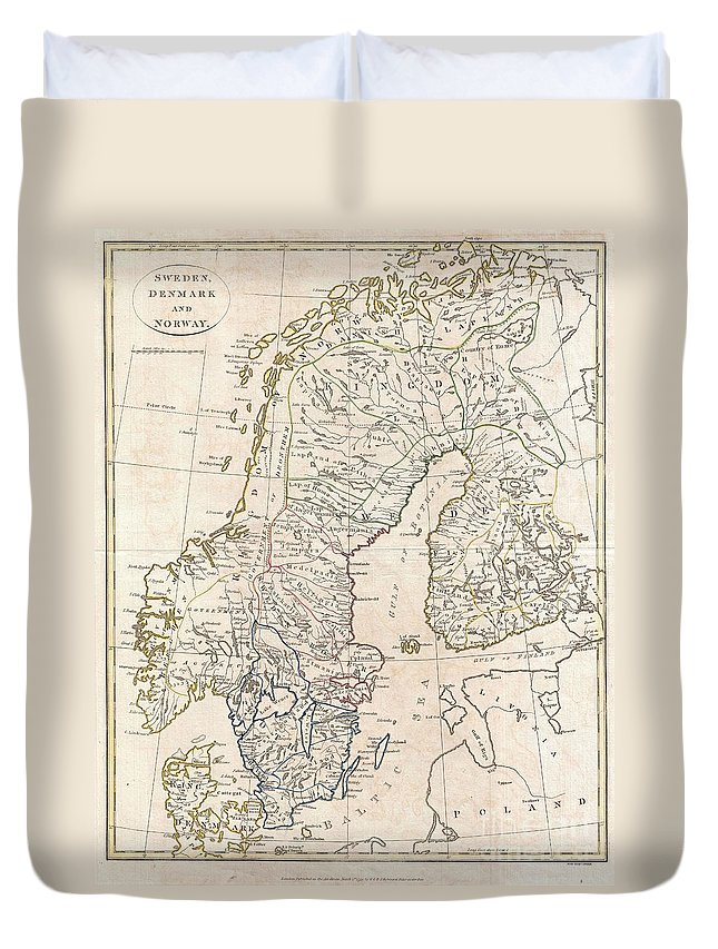 A Fine 1799 Map Of Sweden Duvet Cover featuring the photograph 1799 Clement Cruttwell Map Of Sweden Denmark And Norway by Paul Fearn