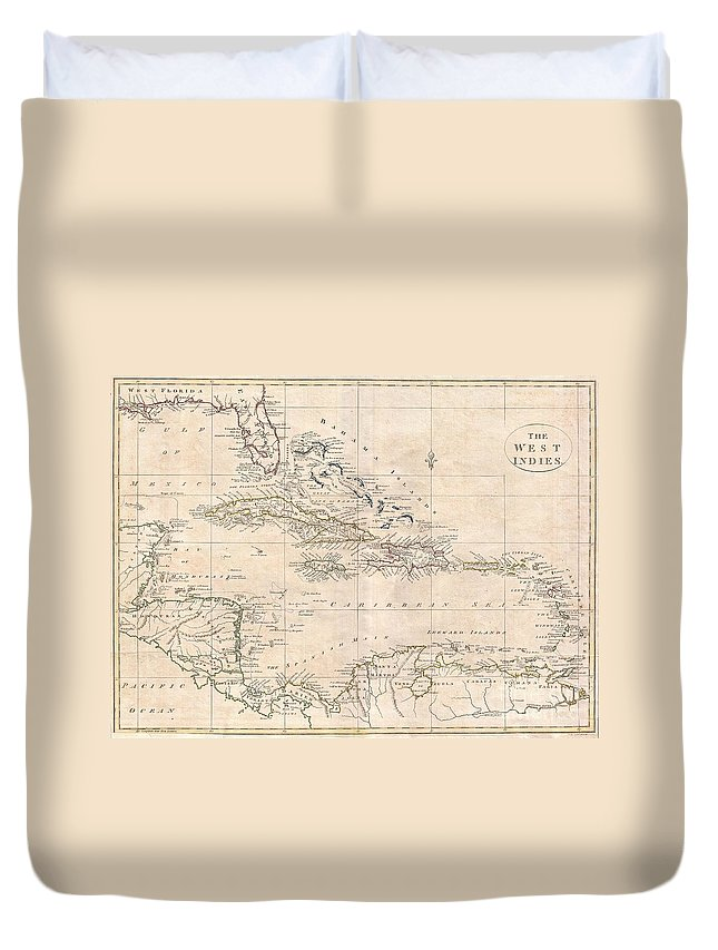 A Fine 1799 Map Of The West Indies By The English Mapmaker Clement Cruttwell. Shows What Was Then Known As West And East Florida Duvet Cover featuring the photograph 1799 Clement Cruttwell Map Of West Indies by Paul Fearn
