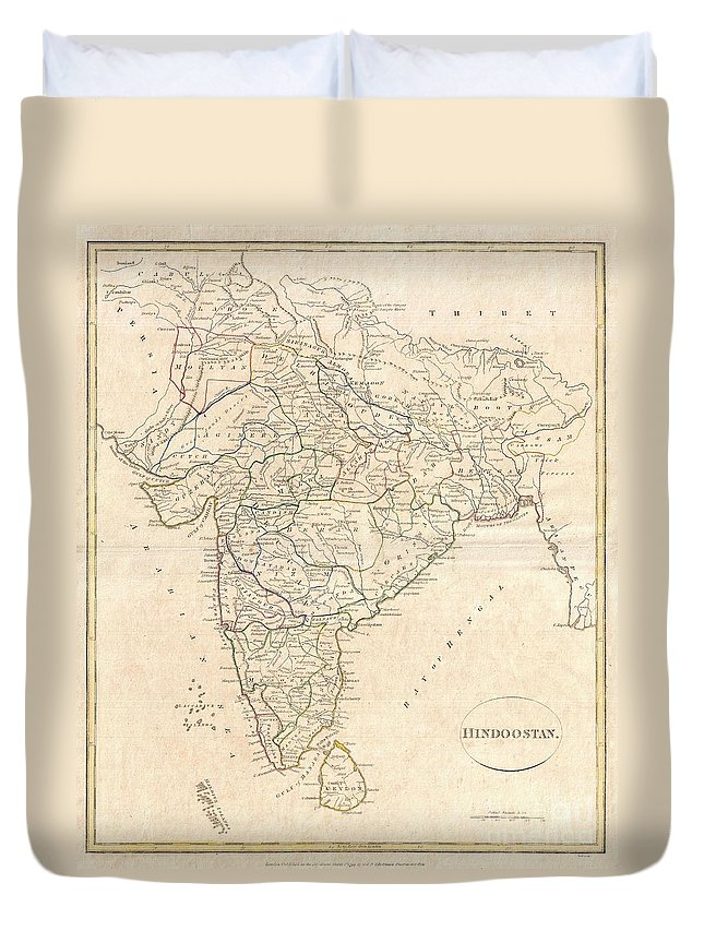 A Fine 1799 Map India Duvet Cover featuring the photograph 1799 Clement Crutwell Map Of Hindoostan by Paul Fearn