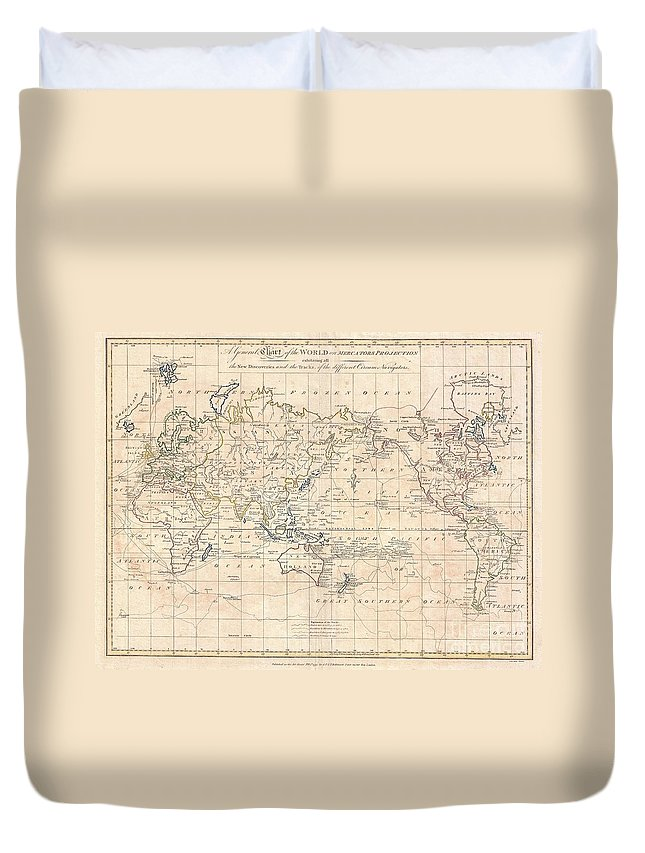A Fine Example Of Clement Cruttwell's 1799 Map Of The World On Mercator's Projection. This Is An Elegant World Map Designed To Illustrate The Activities Of Important Explorers Of The 17th And18th Centuries. The Tracks Of Cook Duvet Cover featuring the photograph 1799 Cruttwell Map Of The World On Mercators Projection by Paul Fearn