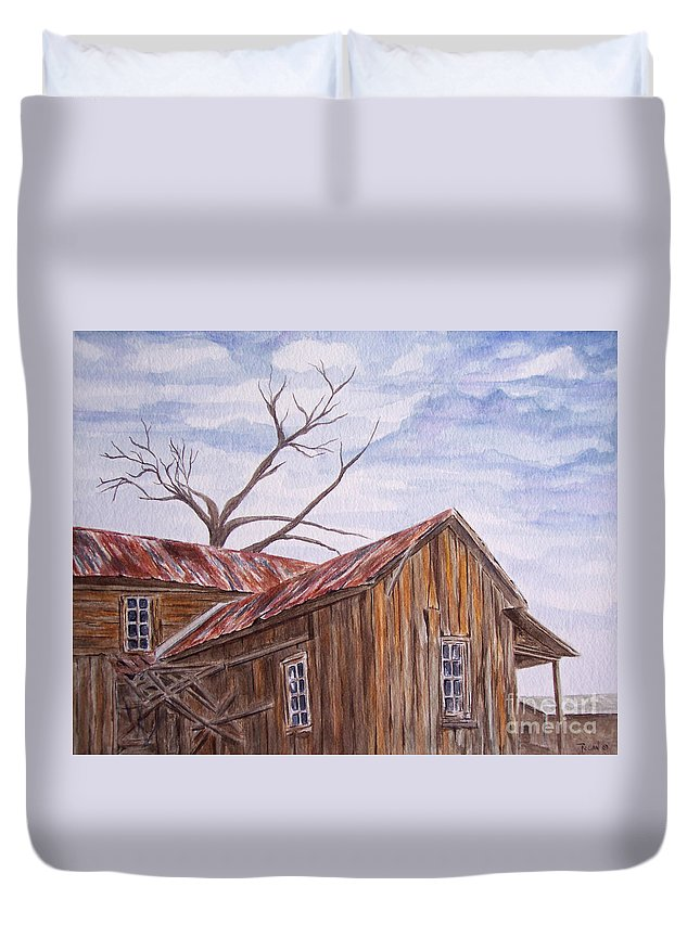 Old House Duvet Cover featuring the painting 1800's by Regan J Smith