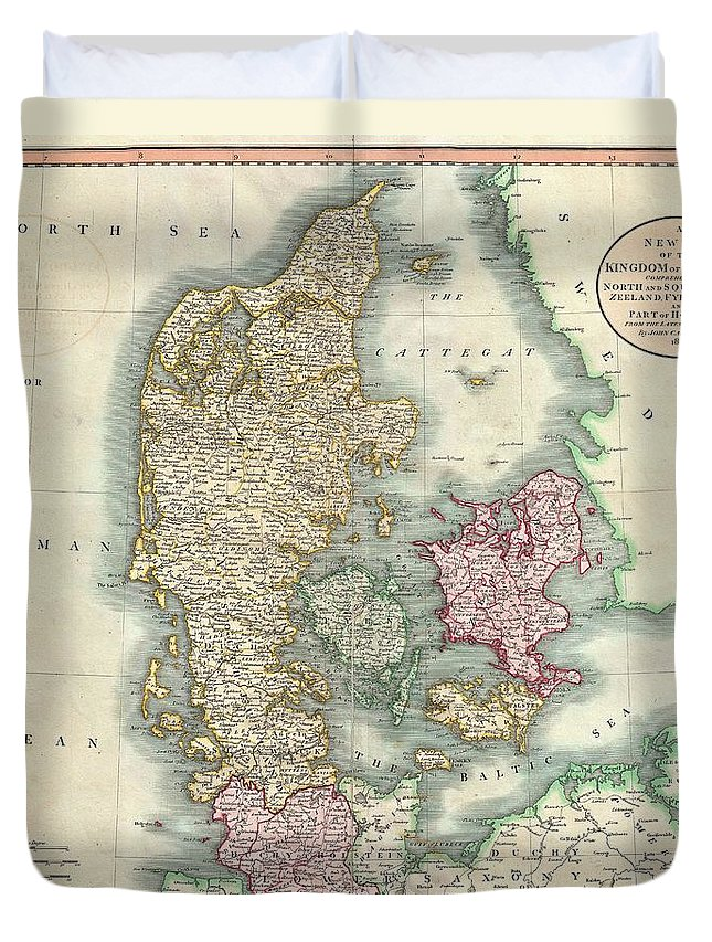 An Extremely Attractive Example Of John Cary's 1801 Map Of Denmark. Covers All Of Jutland And The Islands Of Zeeland Duvet Cover featuring the photograph 1801 Cary Map Of Denmark by Paul Fearn