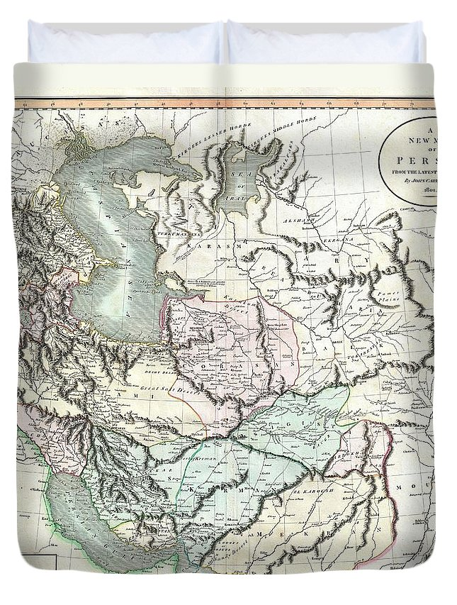 An Exceptional Example Of John Cary's Important 1801 Map Of Persia. Extending From The Black Sea Coast Eastward As Far As Kabul And Southward As Far South As The Persian Gulf Duvet Cover featuring the photograph 1801 Cary Map Of Persia Iran Iraq Afghanistan by Paul Fearn