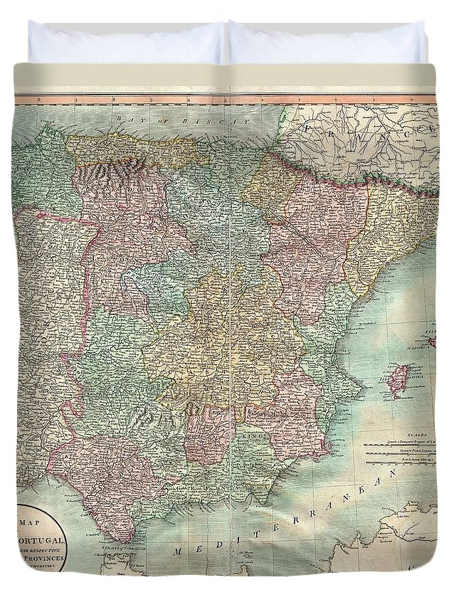 An Extremely Attractive Example Of John Cary's 1801 Map Of Spain And Portugal. Consists Of The Entire Region Of Iberia Including The Islands Of Minorca Duvet Cover featuring the photograph 1801 Cary Map Of Spain And Portugal by Paul Fearn