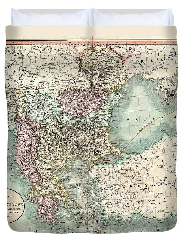 An Exceptionally Beautiful Example Of John Cary's Important 1801 Map Of Turkey In Europe. Covers From The Adriatic Eastward To Crimea And Southwards As Far As Crete And Cyprus. While Technically A Map Of Ottoman Holdings In Europe Duvet Cover featuring the photograph 1801 Cary Map Of Turkey In Europe Greece And The Balkan by Paul Fearn