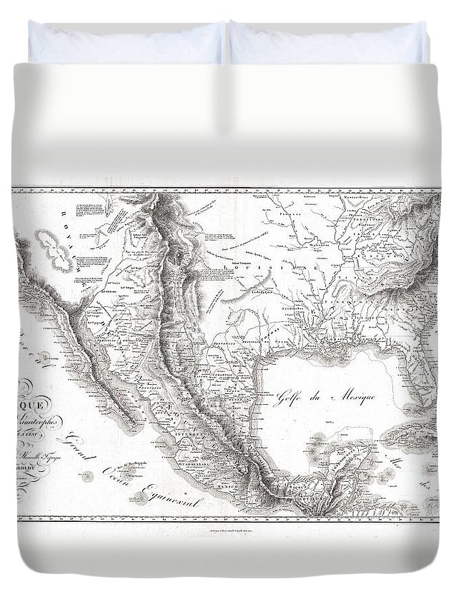1811 Humboldt Map Of Mexico Duvet Cover featuring the photograph 1811 Humboldt Map Of Mexico Texas Louisiana And Florida by Paul Fearn