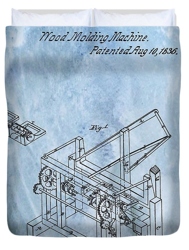 1836 Wood Molding Machine Duvet Cover featuring the digital art 1836 Wood Molding Machine by Dan Sproul