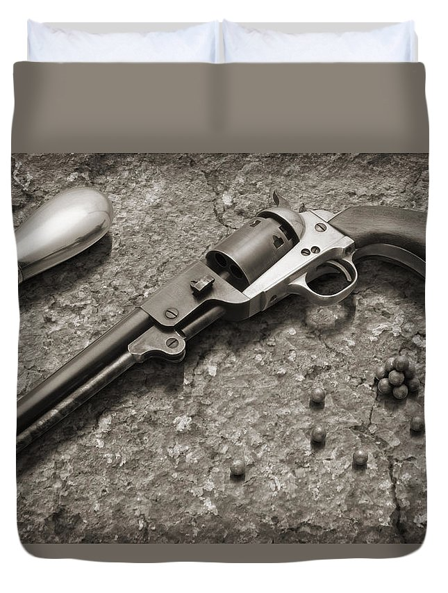 Revolver Duvet Cover featuring the photograph 1851 Navy Revolver 36 Caliber - 2 by Mike McGlothlen