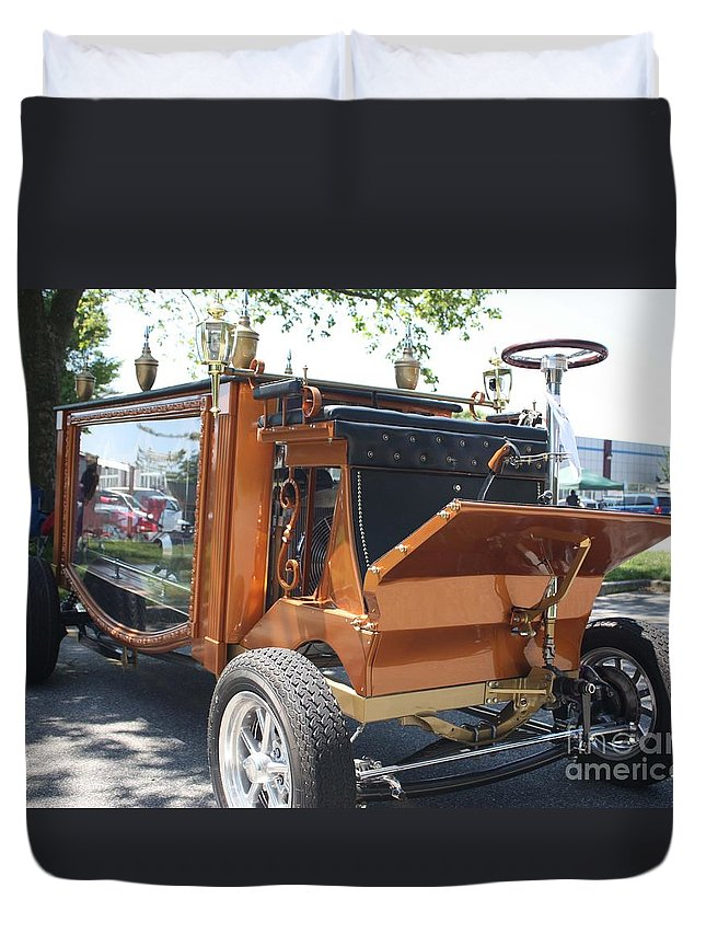 1852 Cunningham Hearse With 383 Chevy Stroker Engine Duvet Cover featuring the photograph 1852 Cunningham Hearse With 383 Chevy Stroker Engine by John Telfer