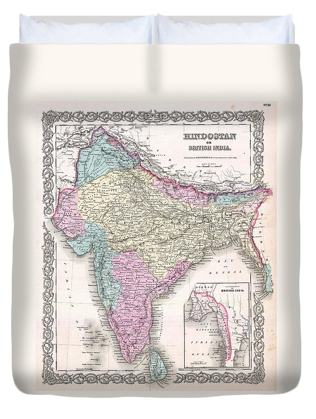 Duvet Cover featuring the photograph 1855 Colton Map Of India by Paul Fearn