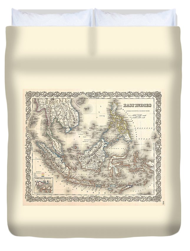 Duvet Cover featuring the photograph 1855 Colton Map Of The East Indies Singapore Thailand Borneo Malaysia by Paul Fearn