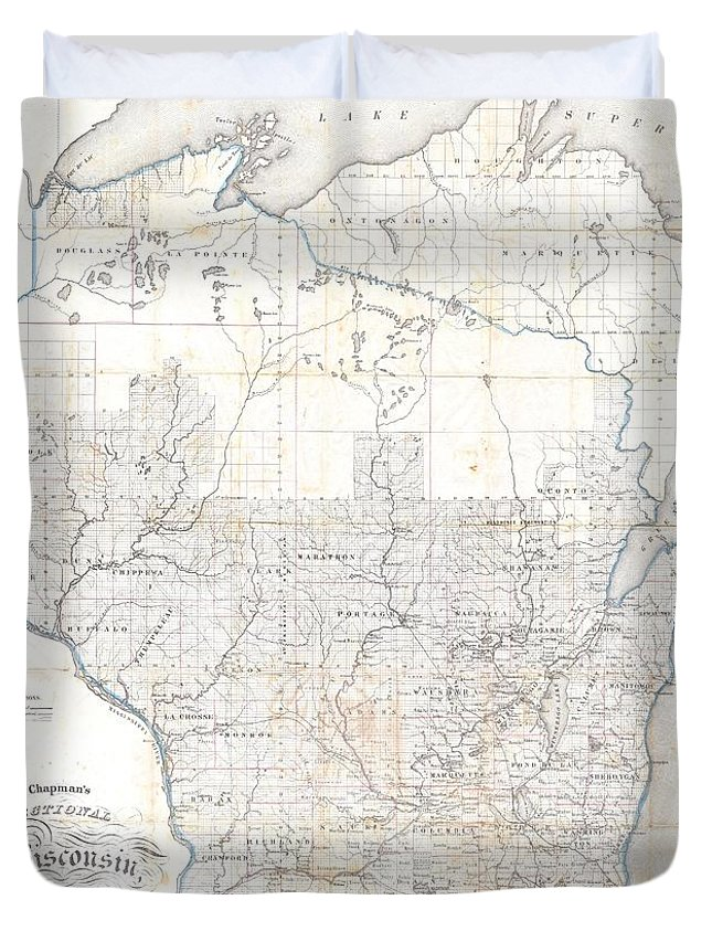 Duvet Cover featuring the photograph 1856 Chapman Pocket Map Of Wisconsin by Paul Fearn