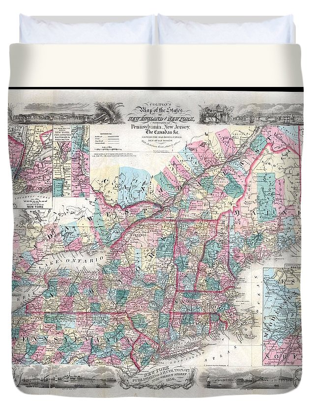 Duvet Cover featuring the photograph 1856 Colton Pocket Map Of New England And New York by Paul Fearn