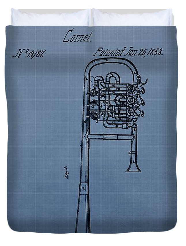 1858 Trumpet Patent Duvet Cover featuring the digital art 1858 Trumpet Patent by Dan Sproul
