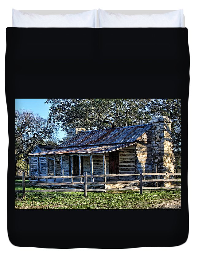 Artitecture Duvet Cover featuring the photograph 1860 Log Cabins by Linda Phelps