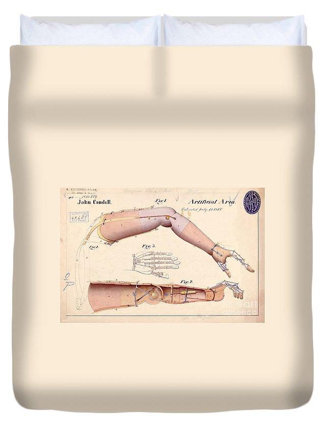 Civil War Duvet Cover featuring the drawing 1865 Artificial Limbs Patent Drawing by Jon Neidert