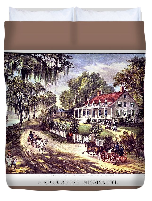 Horizontal Duvet Cover featuring the painting 1870s 1800s A Home On The Mississippi - by Vintage Images