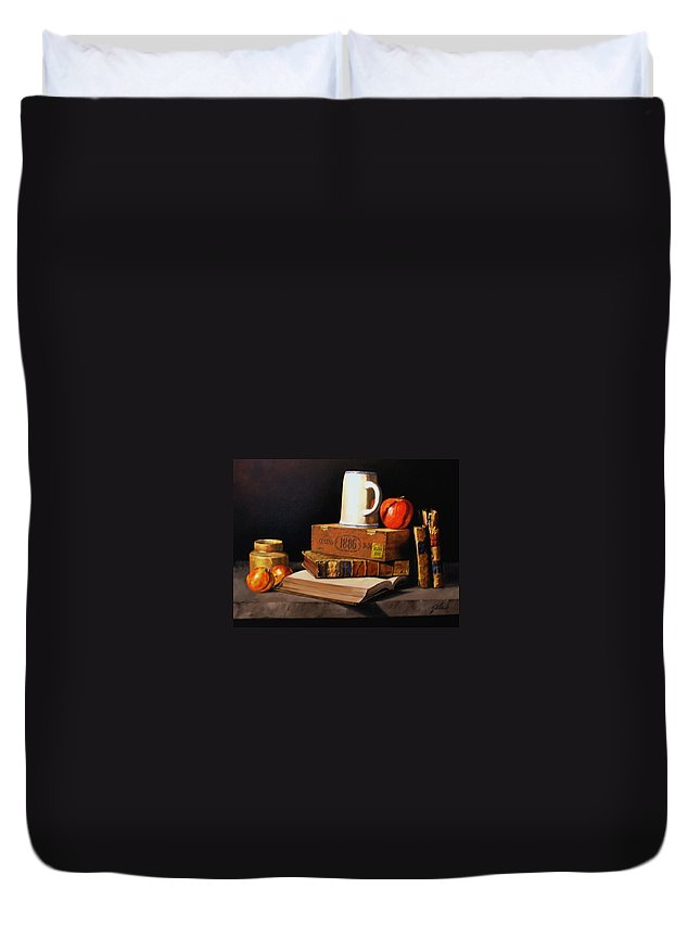 Still Life Duvet Cover featuring the painting 1886 by Jim Gola