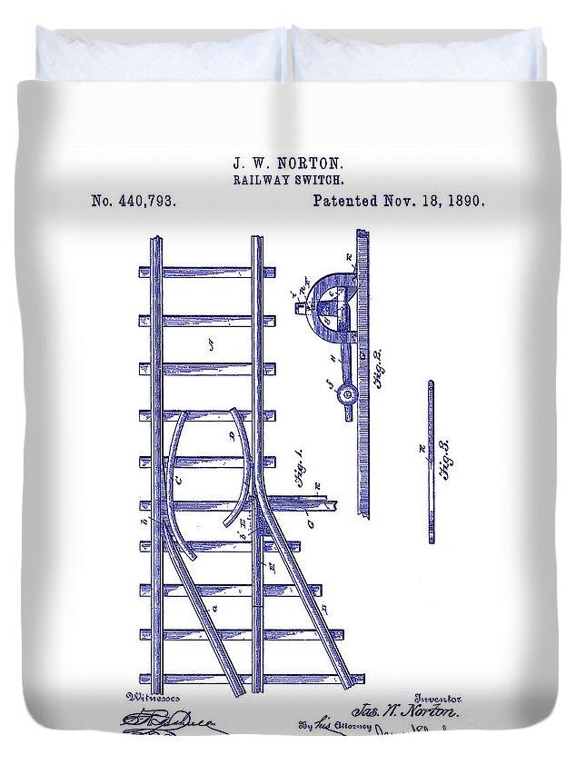 1890 Railway Switch Patent Drawing Blue Duvet Cover featuring the drawing 1890 Railway Switch Patent Blueprint by Jon Neidert