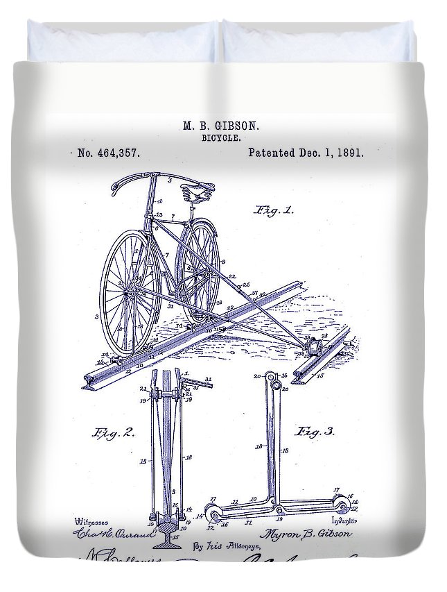 1891 Bicycle Patent Blueprint Duvet Cover featuring the drawing 1891 Bicycle Patent Blueprint by Jon Neidert