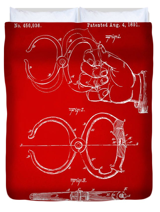 Police Duvet Cover featuring the digital art 1891 Police Nippers Handcuffs Patent Artwork - Red by Nikki Marie Smith