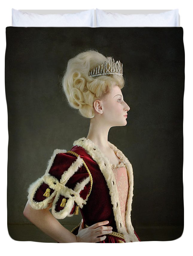 People Duvet Cover featuring the photograph 18th Century Queen Wearing Red Robe by Zena Holloway