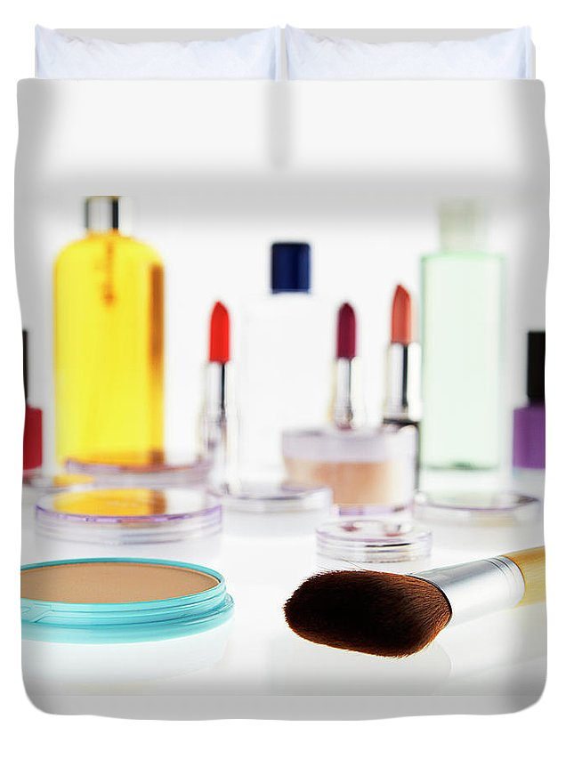 White Background Duvet Cover featuring the photograph Still Life Of Beauty Products by Stephen Smith