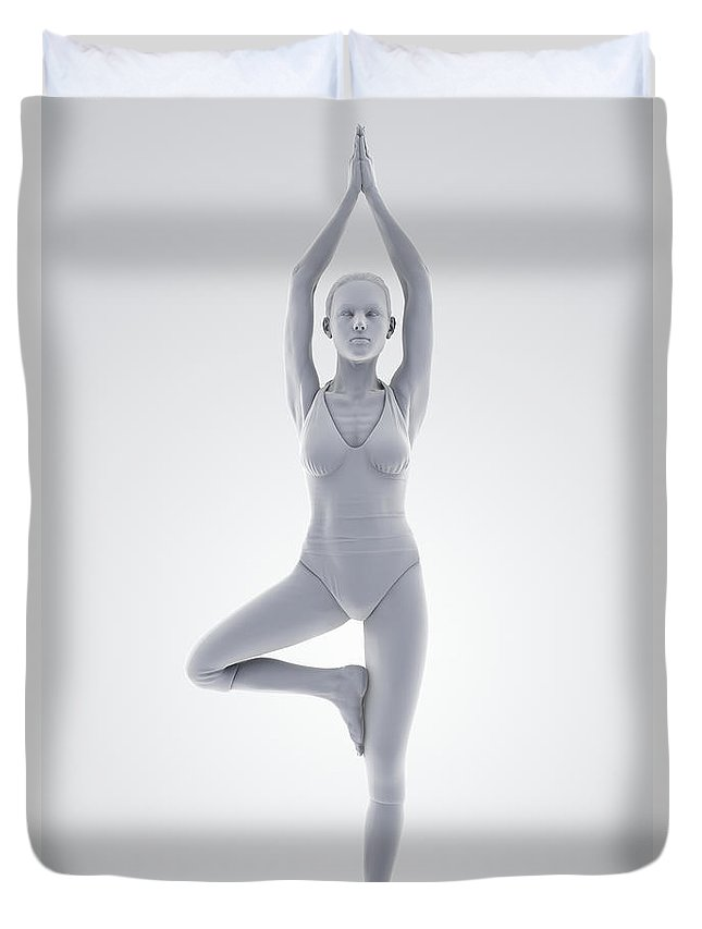 Agility Duvet Cover featuring the photograph Yoga Tree Pose by Science Picture Co