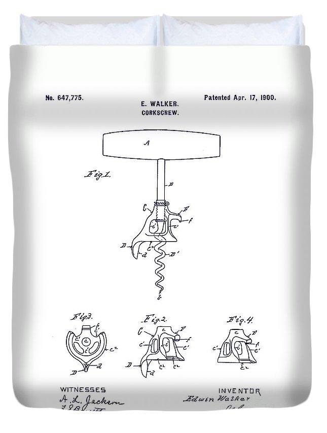 1900 Corkscrew Patent Blueprint Duvet Cover featuring the drawing 1900 Corkscrew Patent Blueprint by Jon Neidert