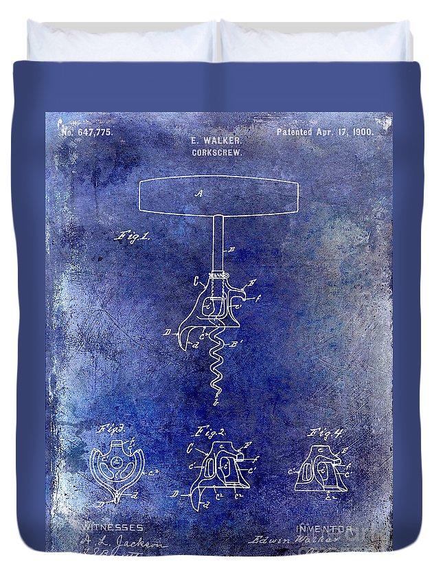 1900 Corkscrew Patent Drawing Duvet Cover featuring the drawing 1900 Corkscrew Patent Drawing Blue by Jon Neidert