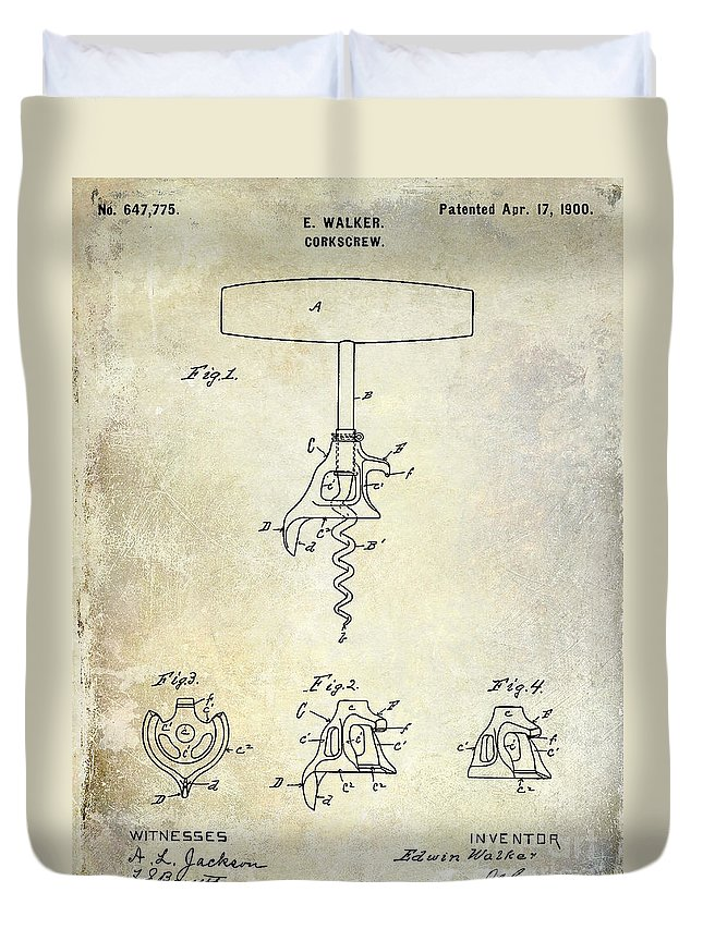 1900 Corkscrew Patent Drawing Duvet Cover featuring the drawing 1900 Corkscrew Patent Drawing by Jon Neidert