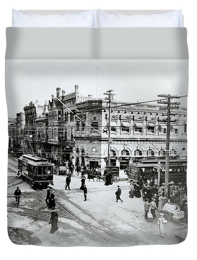 Photography Duvet Cover featuring the photograph 1900s Intersection Of Fair Oaks by Vintage Images