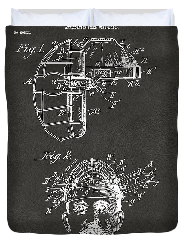 Baseball Duvet Cover featuring the digital art 1904 Baseball Catchers Mask Patent Artwork - Gray 1904 by Nikki Marie Smith